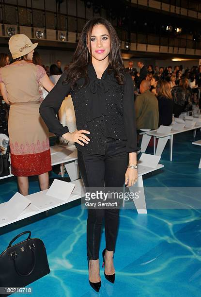 Actress/model Meghan Markle attends the Tory Burch show during Spring 2014 Mercedes-Benz Fashion Week at David H. Koch Theater at Lincoln Center on...