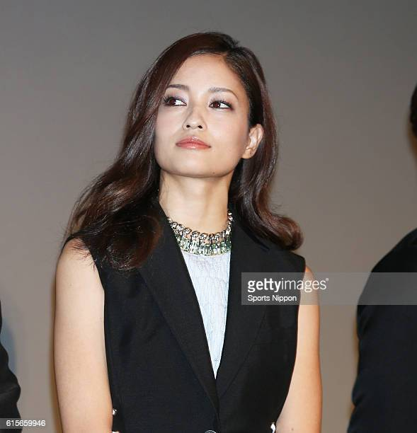 Actress/model Meisa Kuroki attends opening day stage greeting of the film 'Lupin the Third' on August 30 2014 in Tokyo Japan