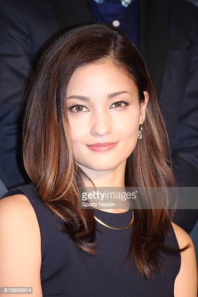Actress/model Meisa Kuroki attends press conference of TV Asashi drama 'Toki wa Tachidomaranai' on February 12 2014 in Tokyo Japan