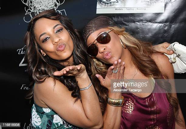 Actress/model Melyssa Ford and Hazel Eyez CEO Arica Adams pose during the Hazel Eyez Experience at The Catalina Hotel on May 4 2008 in Miami Beach...