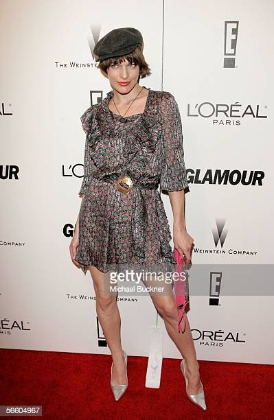 Actress/model Milla Jovovich arrives at the Weinstein Co Golden Globe after party held at Trader Vic's on January 16 2006 in Beverly Hills California