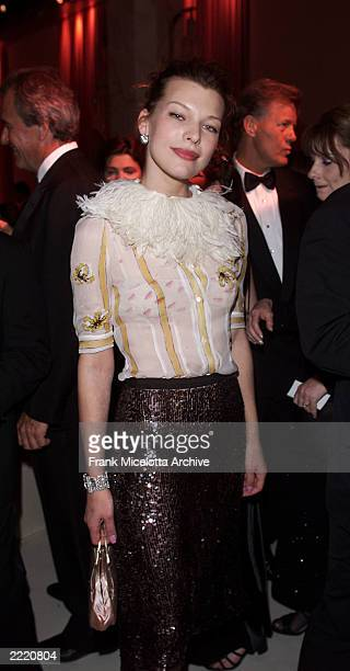 Actress/model Milla Jovovich at the cocktail party prior to Victoria's Secret Fashion Show at the amfAR/Cinema Against Aids 2000 benefit at the...