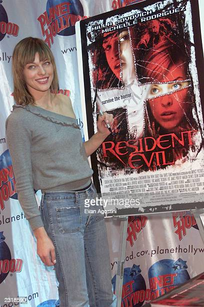 Actress/model Milla Jovovich promotes her new film Resident Evil at Planet Hollywood Times Square in New York City March 6 2002 Photo Evan...