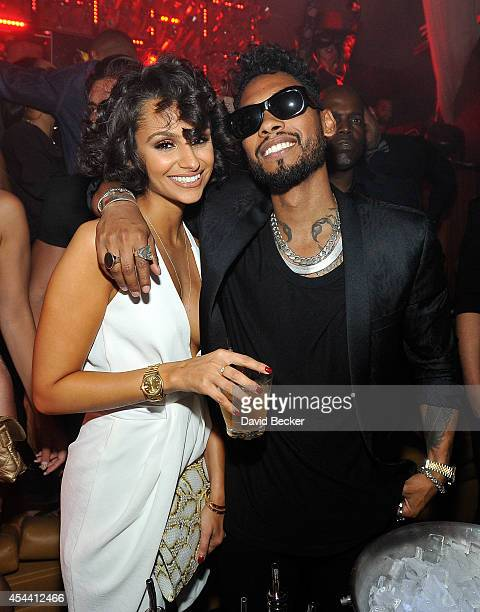 Actress/model Nazanin Mandi and singer Miguel appear at Hyde Bellagio at the Bellagio on August 30 2014 in Las Vegas Nevada