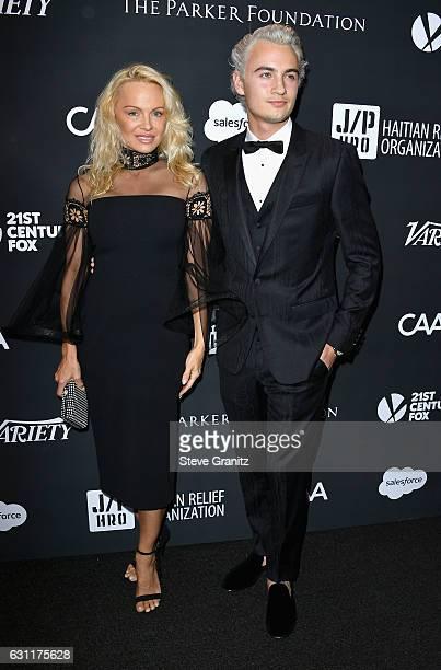 Actress/model Pamela Anderson and Brandon Thomas Lee attend the 6th Annual Sean Penn Friends HAITI RISING Gala Benefiting J/P Haitian Relief...