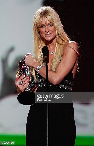 Actress/Model Paris Hilton accepts her award for Big Outlaw onstage during the VH1 Big in '06 Awards held at Sony Studios on December 2 2006 in...