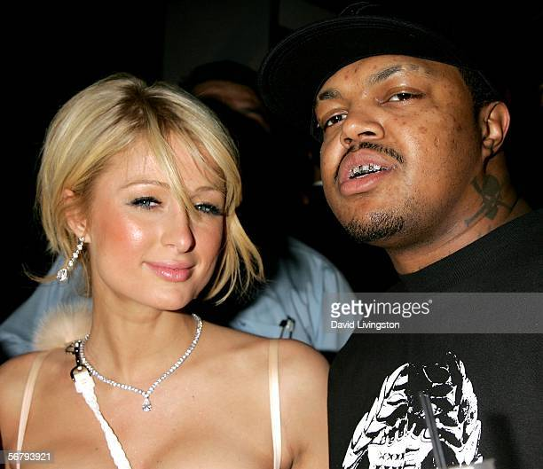 Actress/Model Paris Hilton and Three 6 Mafia group member attend the William Morris Agency Grammy Party on February 8 2006 in Beverly Hills California