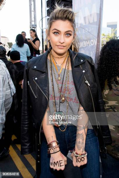 Actress/model Paris Jackson attends the women's march Los Angeles on January 20 2018 in Los Angeles California