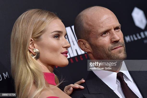 Actress/model Rosie HuntingtonWhiteley and actor Jason Statham arrive at the premiere of Summit Entertainment's 'Mechanic Resurrection' at ArcLight...