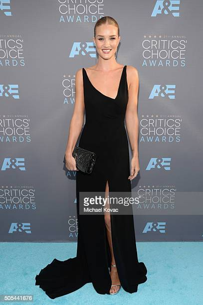 Actress/model Rosie HuntingtonWhiteley attends the 21st Annual Critics' Choice Awards at Barker Hangar on January 17 2016 in Santa Monica California