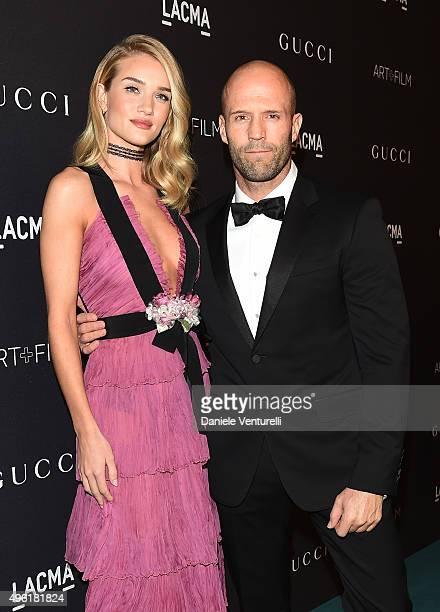 Actress/model Rosie HuntingtonWhiteley wearing Gucci and actor Jason Statham attend LACMA 2015 ArtFilm Gala Honoring James Turrell and Alejandro G...