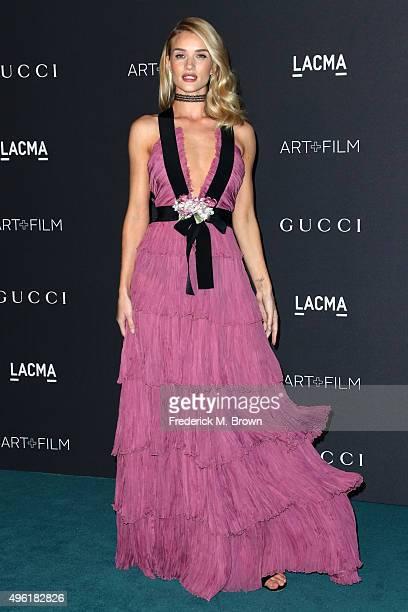 Actress/model Rosie HuntingtonWhiteley wearing Gucci attends LACMA 2015 ArtFilm Gala Honoring James Turrell and Alejandro G Iñárritu Presented by...