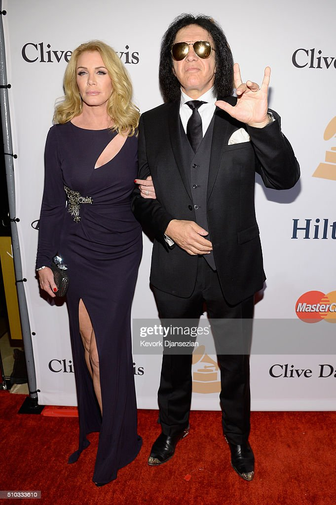Actress/model Shannon Tweed (L) and recording artist Gene Simmons attend the 2016 Pre-GRAMMY Gala and Salute to Industry Icons honoring Irving Azoff at The Beverly Hilton Hotel on February 14, 2016 in Beverly Hills, California.
