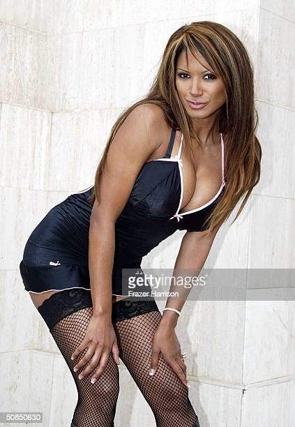Actress/model Traci Bingham poses at the The Lingerie Bowl announcement of The Formation of The Lingerie Football League on May 17 2004 in Los...