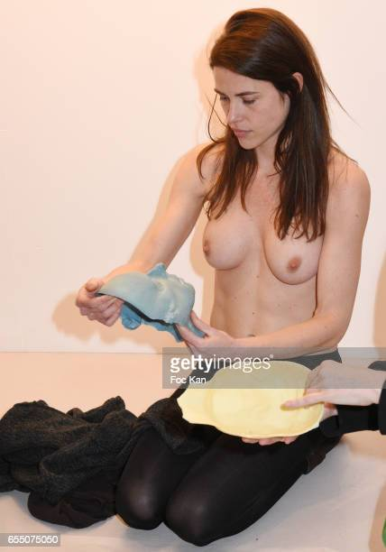 Actress/model Zoe Duchesne Trouche during the 'Faccia A Faccia' Sarah Trouche performance exhibition at Galerie Vanessa Quang on March 18 2017 in...