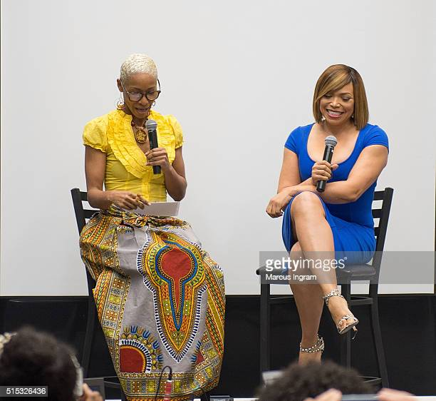 Actress/moderator Charmin Lee and actress and singer Tisha CampbellMartin speak on stage during the Black Women Film Network A Conversation with...