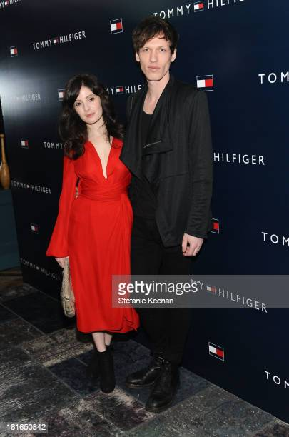 Actress/musician Aleksa Palladino and musician Devon Church attend Tommy Hilfiger New West Coast Flagship Opening on Robertson Boulevard on February...