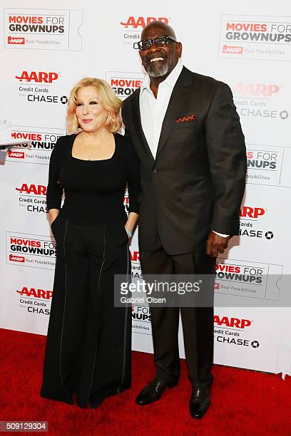 Actress/musician Bette Midler and Chris Gardner attend AARP's Movie For GrownUps Awards at the Beverly Wilshire Four Seasons Hotel on February 8 2016...