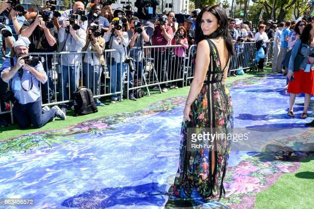 Actress/musician Demi Lovato arrives at the premiere of Sony Pictures' Smurfs The Lost Village at ArcLight Cinemas on April 1 2017 in Culver City...
