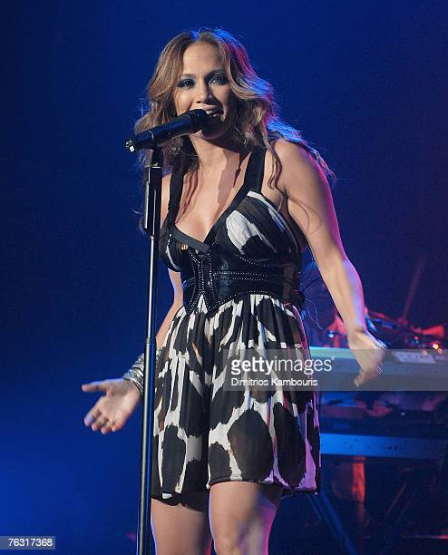 """Actress/Musician Jennifer Lopez performs during """"The Secret Show"""" at the Roseland Ballroom on August 23, 2007 in New York City"""