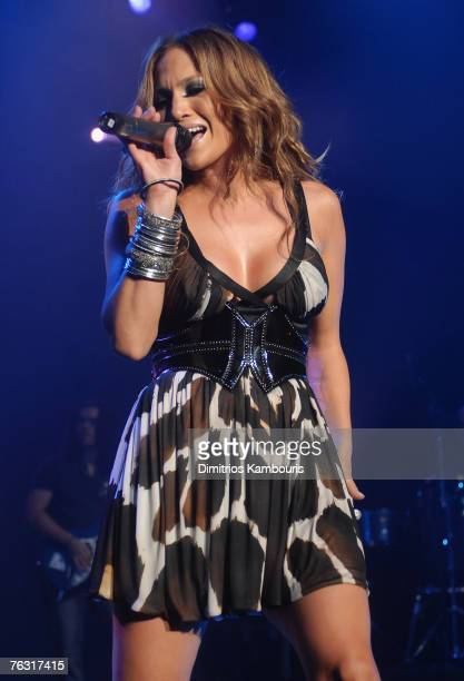 NEW YORK AUGUST 23 Actress/Musician Jennifer Lopez performs during 'The Secret Show' at the Roseland Ballroom on August 23 2007 in New York City