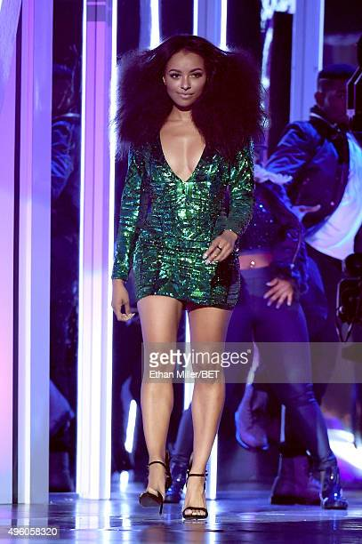 Actress/musician Kat Graham walks onstage during the 2015 Soul Train Music Awards at the Orleans Arena on November 6 2015 in Las Vegas Nevada