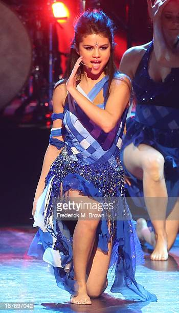 Actress/musician Selena Gomez performs during the 2013 Radio Disney Music Awards at the Nokia Theatre LA Live on April 27 2013 in Los Angeles...