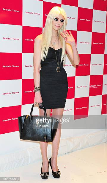 Actress/musician Taylor Momsen attends the Samantha Thavasa bags promotion event at Samantha Thavasa Deluxe Omotesando Gates shops on September 25...