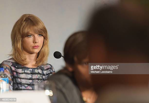 Actress/musician Taylor Swift takes part in a press conference for the Weinstein Company's 'The Giver'at JW Marriott Essex House on August 12 2014 in...