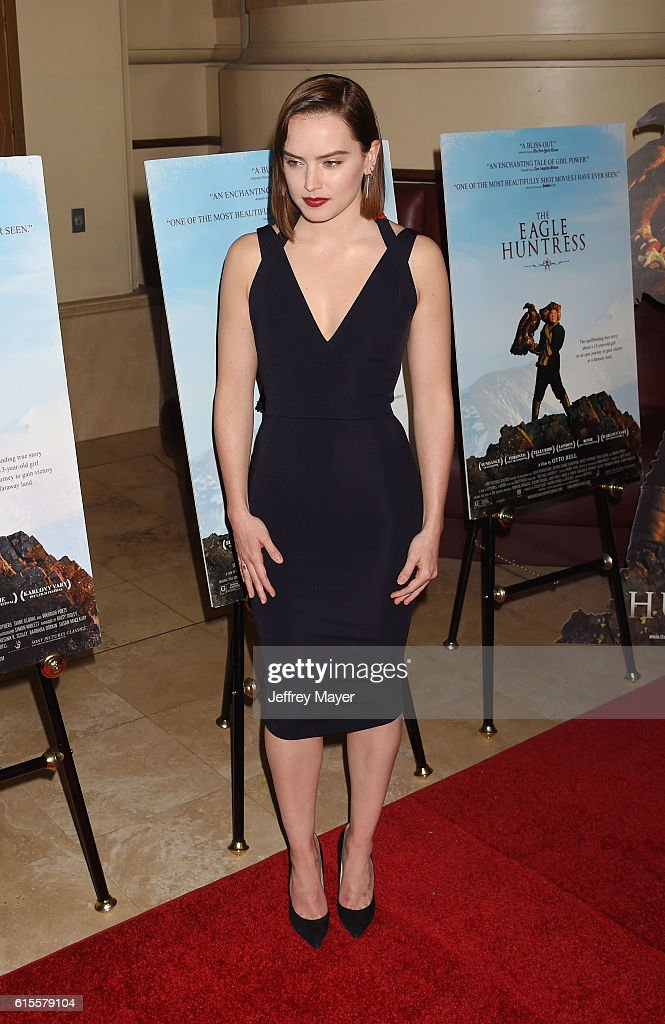 Actress/Narrator/Executive producer Daisy Ridley arrives at the Premiere Of Sony Pictures Classics' 'The Eagle Huntress' at Pacific Theaters at the Grove on October 18, 2016 in Los Angeles, California.