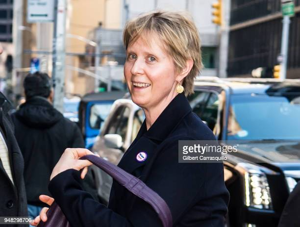 Actress/New York gubernatorial candidate Cynthia Nixon visits 'The Late Show With Stephen Colbert' at the Ed Sullivan Theater on April 18 2018 in New...