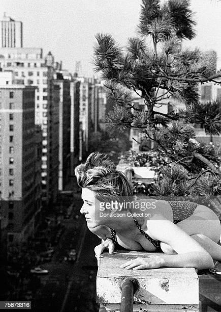 Actress/Novelist Carrie Fisher poses on a rooftop in New York