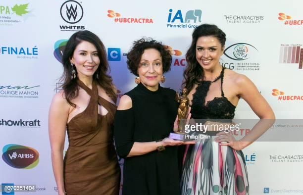 Actress/Presenter Jewel Staite Best Actress Award Winner Karin Konoval and Actress/Presenter Aliyah O'Brien pose at the 7th annual UBCP/ACTRA Awards...