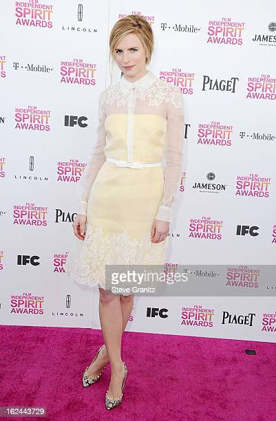 Actressproducer Brit Marling attends the 2013 Film Independent Spirit Awards at Santa Monica Beach on February 23 2013 in Santa Monica California