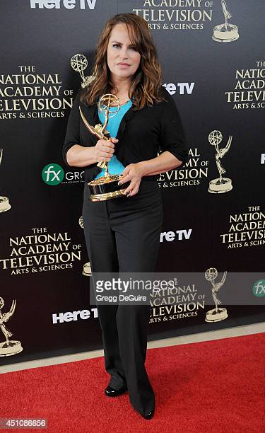 Actress/producer Crystal Chappell poses in the press room at the 41st Annual Daytime Emmy Awards at The Beverly Hilton Hotel on June 22 2014 in...