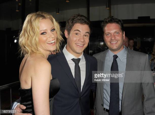 Actress/producer Elizabeth Banks actor Adam DeVine and producer Max Handelman arrive at the premiere of Universal Pictures And Gold Circle Films'...