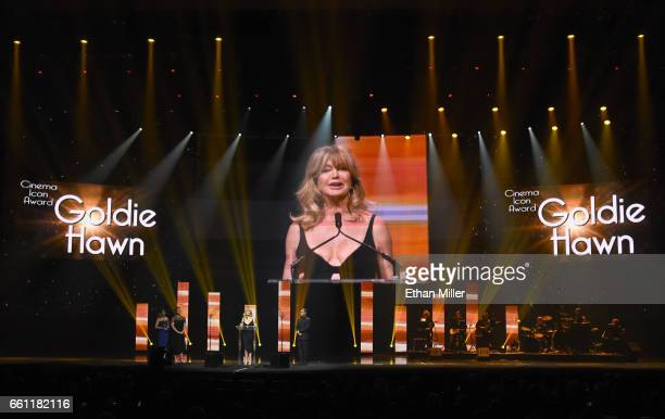 Actress/producer Goldie Hawn accepts the Cinema Icon Award during the CinemaCon Big Screen Achievement Awards brought to you by the CocaCola Company...