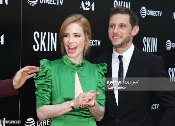 US actress/producer Jaime Ray Newman and British actor Jamie Bell arrive for the special screening of Skin at the Arclight in Hollywood on July 11...