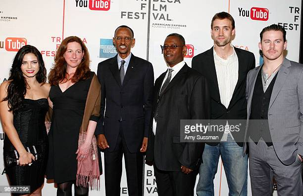 Actress/producer Jenna Dewan, director Deborah Scranton, Rwandan President Paul Kagame, documentry subject Jean Pierre Sagahutu, producer Reid...