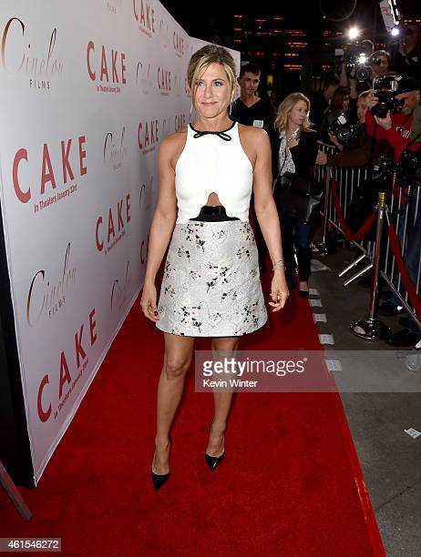 """Actress/Producer Jennifer Aniston attends the premiere of Cinelou Films' """"Cake"""" at ArcLight Cinemas on January 14, 2015 in Hollywood, California."""