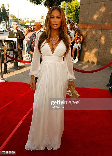 """Actress/producer Jennifer Lopez arrives to the premiere of """"El Cantante"""" at the Director?s Guild of America Theatre on July 31, 2007 in Los Angeles,..."""