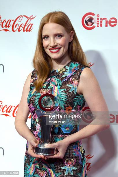 Actress/producer Jessica Chastain recipient of the Female Star of the Year Award attends the CinemaCon Big Screen Achievement Awards brought to you...