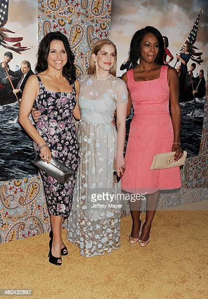 Actress/producer Julia LouisDreyfus actresses Anna Chlumsky and Sufe Bradshaw attend the premiere of HBO's 'Veep' 3rd season held at Paramount...