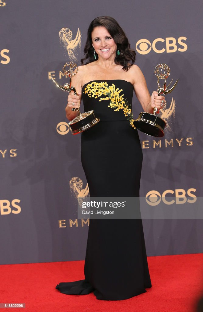 Actress/producer Julia Louis-Dreyfus, winner of the awards for Outstanding Comedy Series and Outstanding Lead Actress in a Comedy Series for 'Veep,' poses in the press room during the 69th Annual Primetime Emmy Awards at Microsoft Theater on September 17, 2017 in Los Angeles, California.