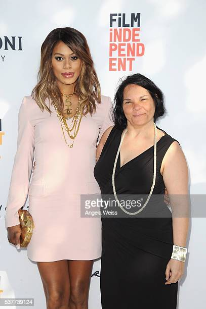 """Actress/producer Laverne Cox and filmmaker Jacqueline Gares attend the premiere of """"FREE CeCe!"""" during the 2016 Los Angeles Film Festival at Arclight..."""