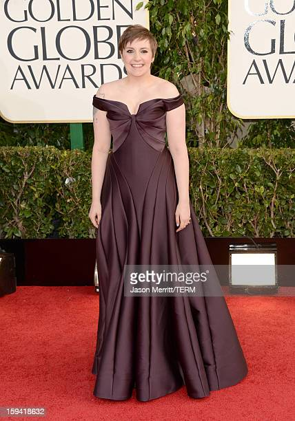 Actress/producer Lena Dunham arrives at the 70th Annual Golden Globe Awards held at The Beverly Hilton Hotel on January 13 2013 in Beverly Hills...