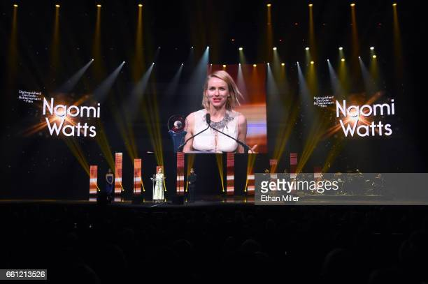 Actress/producer Naomi Watts accepts the Distinguished Decade of Achievement in Film Award during the CinemaCon Big Screen Achievement Awards brought...