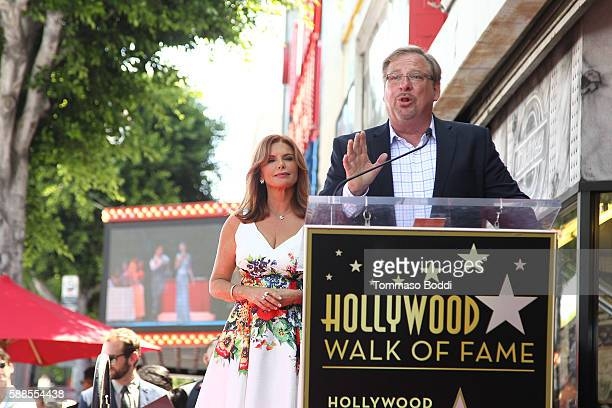 Actress/Producer Roma Downey and pastor Rick Warren attend a ceremony honoring actress/producer Roma Downey with a star on the Hollywood Walk of Fame...