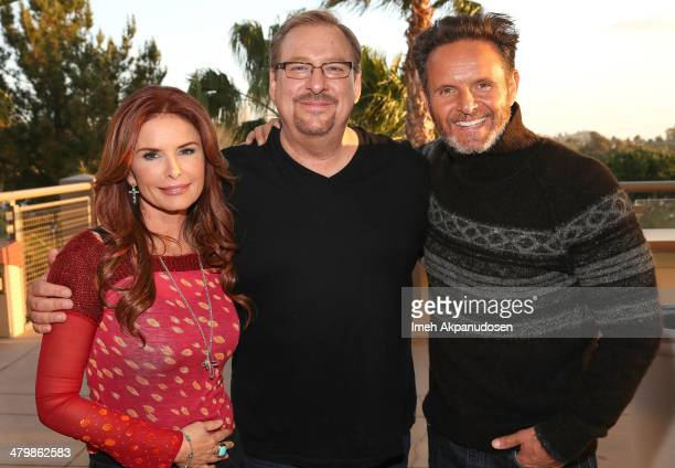 Actress/producer Roma Downey, Pastor Rick Warren, and producer Mark Burnett attend 'The Bible: SON OF GOD Tour 2014' Kick-Off at Saddleback Church on...
