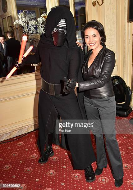 Actress/producer Saida Jawad poses with a 'Dark Vador' during the 'Star Wars Episode VII The Force Awakens' Screening Party Hosted by ST Dupont at...